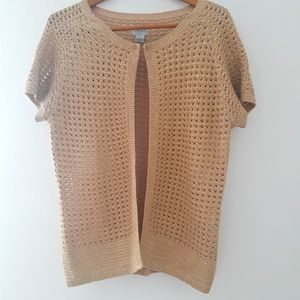 Chicos Short Sleeved Inlet Open Cardigan